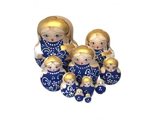 1591 - Matriochka Poupées Russes Pyrogravées Bleues