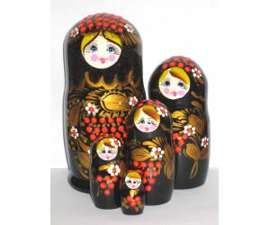 771 - Matriochka Poupées Russes Motif Floral Noir et Rouge