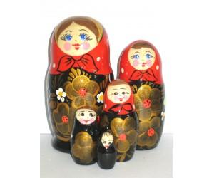 786 - Matriochka Poupées Russes Motif Floral Noir et Rouge