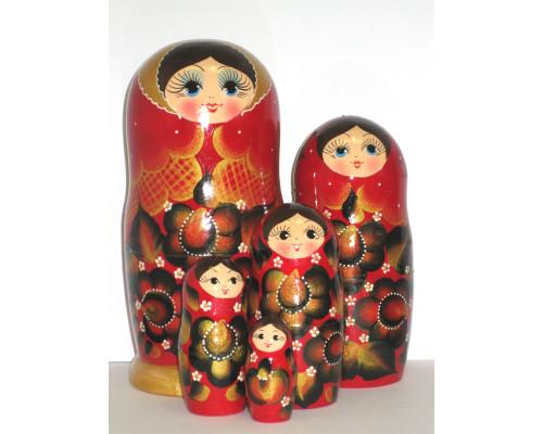 918 -  Matriochka Poupées Russes Motif Floral Rouge et Noir