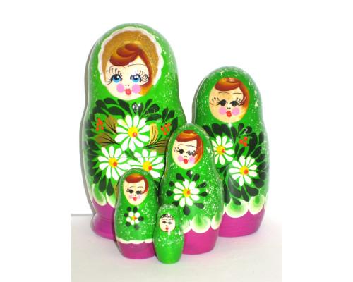 922  -  Matriochka Poupées Russes Motif Floral Vert