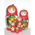 989 - Matriochka Poupées Russes Motif Floral Rouge
