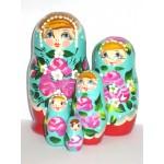 990 - Matriochka Poupées Russes Motif Floral Rouge et Turquoise