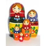 992 - Matriochka Poupées Russes Motif Floral Vert et Rouge