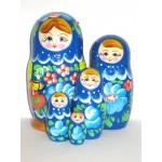 993 - Matriochka Poupées Russes Motif Floral Bleu