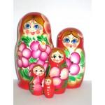 994 - Matriochka Poupées Russes Motif Floral Rouge