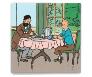 Aimant Tintin et Haddock à Table
