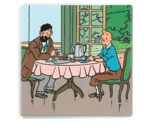 Aimant Tintin et Haddock à Table