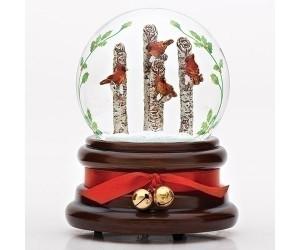 Cardinals on Tree Trunks Musical Snowglobe