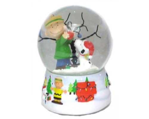 Arbre de Noël de Charlie et Snoopy Boule à Neige Musicale