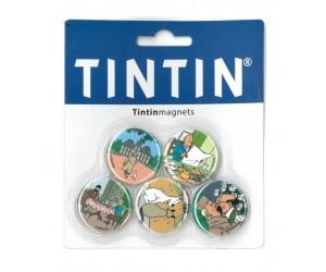Aimants Ensemble de Cinq Les Aventures de Tintin