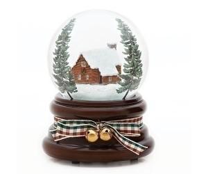 House and Pines - Musical Snowglobe