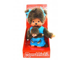 Maman Bleue avec Bébé Monchhichi