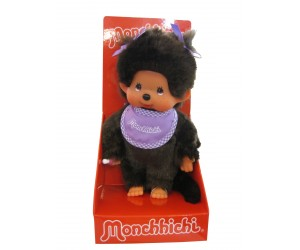 Girl with Purple Bib and Pigtails Monchhichi