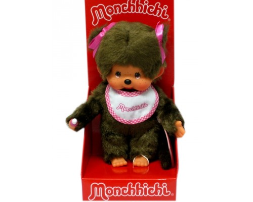 Girl with Pink Bib and Two Ponytails Monchhichi