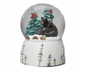 Black Bear and Christmas Tree Musical Snowglobe