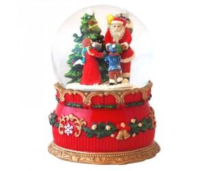 Père Noël et Enfants dans la Forêt Boule à Neige Musicale