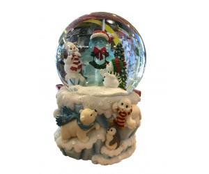 Père Noël de Glace avec Animaux Boule à Neige Musicale