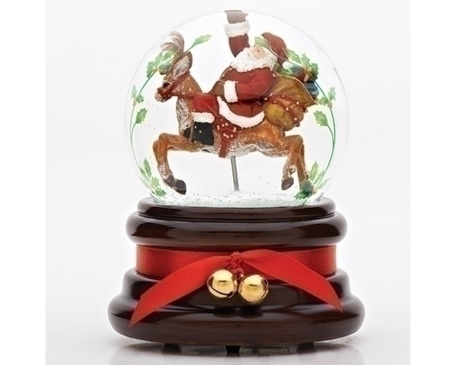 Boule De Neige Noel santa on deer snowglobe - boutique brin de folie