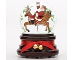Père Noël Sur Son Renne Boule à Neige Musicale