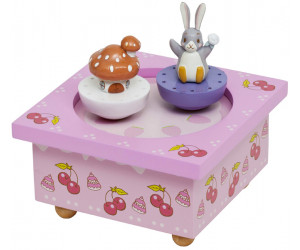 Rabbit and Mushroom House Skating Rink Music Box