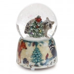 Raccoon and Christmas Tree Musical Snowglobe