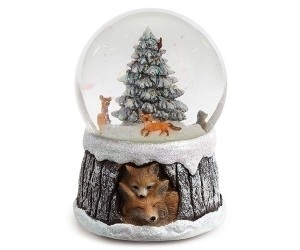 Foxes Musical Snowglobe