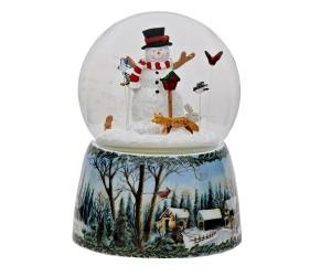 Bonhomme de Neige et Oiseaux - Boule à Neige Musicale