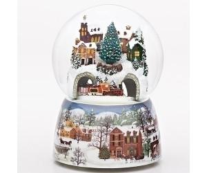 Village de Noël avec Train Boule à Neige Musicale