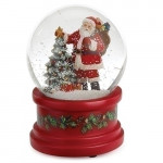 Santa Claus and Christmas Tree Red Base Musical Waterglobe