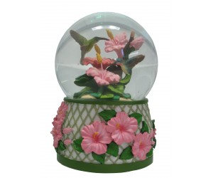 Hummingbird and Hibiscus - Musical Snowglobe