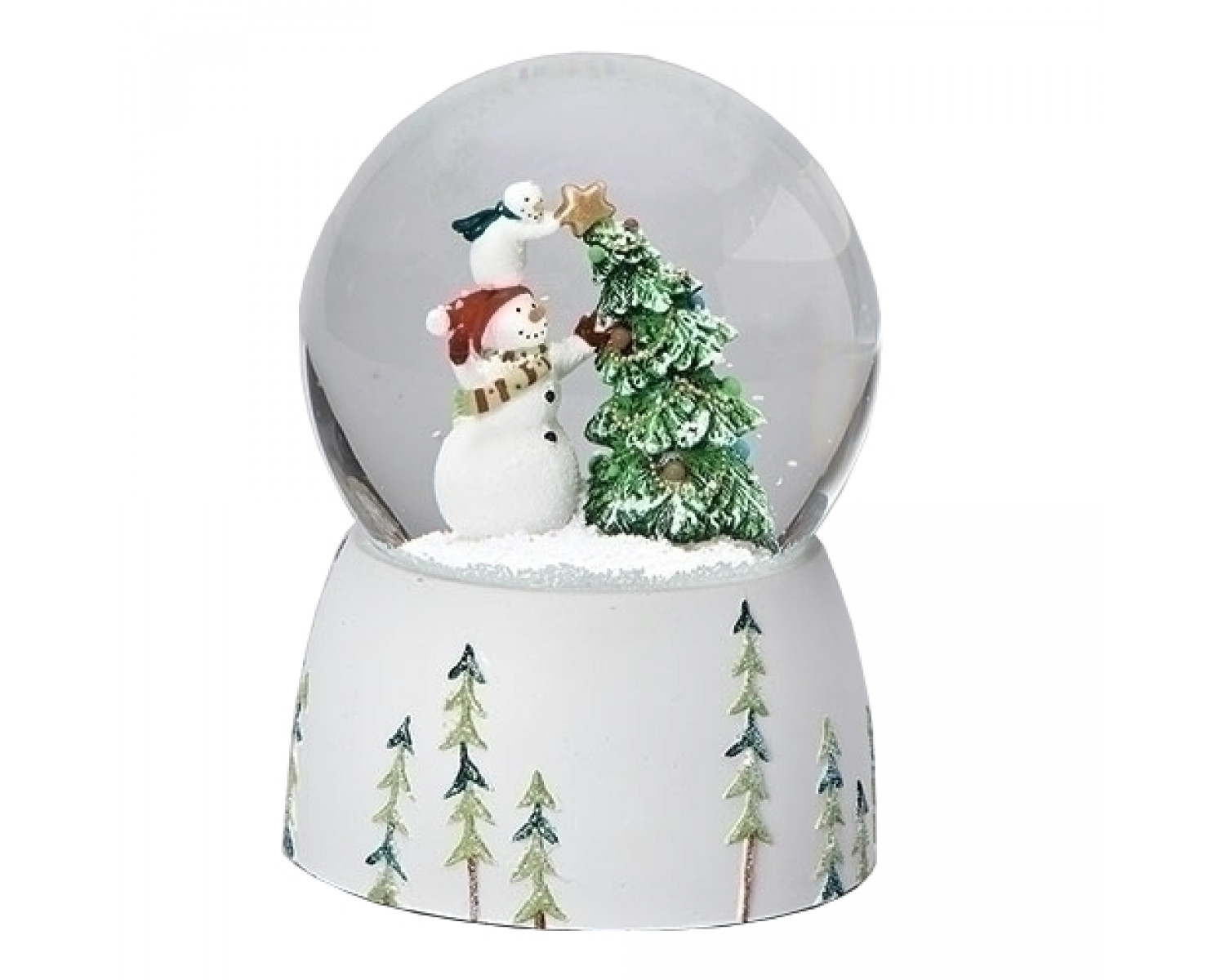 Christmas In Evergreen Snow Globe.Snowmen And Christmas Tree Musical Snowglobe