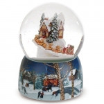 Santa in Sled and Cottage Musical Snowglobe