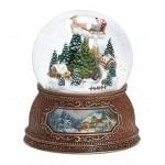 Traîneau du Père Noël et Village en Forêt Boule à Neige Musicale