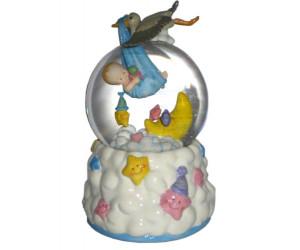 Bébé et Cigogne - Boule à Neige Musicale