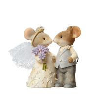 Mice Wedding Couple Tails with Heart